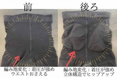 イージースリムレッグ編み地が変わっているのは、ウエスト、ヒップの腰回り